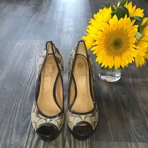 Coach Signature Brown Peep Toe Heels